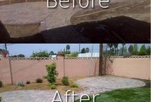 Before and After / Describes with images before landscaping and after landscaping design.