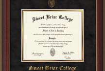 Sweet Briar College Diploma Frames - SBC - & Graduation Gifts! / Official SBC Diploma frames. Exquisitely crafted to exacting specifications for the SBC diploma. Custom framed using hardwood mouldings and all archival materials, including UV glass to prevent fading from sunlight AND indoor incandescent lighting! Each frame exceeds Library of Congress standards for document preservation and includes a 100% lifetime guarantee, ensuring that a hard-earned achievement will be honored and protected for generations. Makes a thoughtful and unique graduation gift!