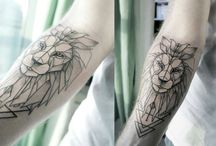 Geometric Lion Tattoo / A star signed inspired tattoo of Leo