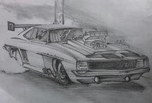 BIKE N CAR SKETCHES / vintage car sketches