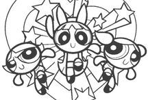 6 Pins Powerpuff Girls Coloring Pages