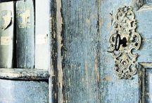Antique Door, Door Knob, Door Knocker and Panel