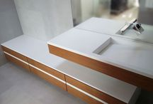 Modern washbasin with cabinet.