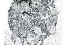 Shohei Otomo / Illustrateur, c'est le fils de Katsuhiro Otomo (Akira entre autres). La particularité de son style, c'est qu'il dessine quasi exclusivement au stylo à bille dans un style mêlant tradition et punk contemporain !