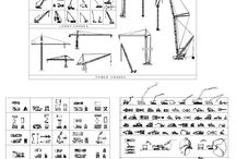 Cranes, digger and cherry pickers Collection / This CAD drawing comprises; Truck mounted cranes, side lift cranes, rough terrain cranes, pick and carry cranes, carry deck crane, telescopic handler crane, crawler crane and various tower cranes. Over 80 2D CAD blocks of diggers, caterpillar trucks, earth movers, excavators in both plan and elevation. Over 70 CAD blocks of cherry pickers and lift platforms
