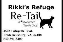 "Rikki's Refuge Re-Tail /  Rikki's Refuge Re-Tail "" A Pawsome Resale Shop "" 3503 Lafayette Blvd. Fredericksburg, VA. 22408 540-891-5300 RE-TAIL on Facebook: https://www.facebook.com/ReTail.org Store Hours: MON-SAT: 10:00 AM - 6:00 PM SUN: 12:00 PM - 5:00 PM"