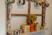 PRATELEIRA PORTA CANECAS / organizador do cantinho do cafe, porta canecas, prateleira , reciclagem, madeira demolição,
