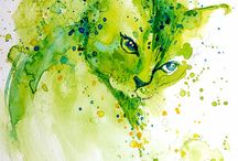 chats Animaux D'aquarelle
