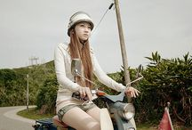 cute women with motorcycle