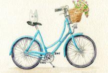 Aquarel fietsen