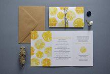 """""""Cytrusy"""" - zaproszenia ślubne / kolekcja 2015 by minwedding  motyw przewodni: lato, owoce, cytryny, cytrusy, eko, akwarele kolory przewodnie: szary, żółty  projekt, wykonanie, zdjęcia: minwedding  more on: http://minwedding.pl/blog/?p=3350"""