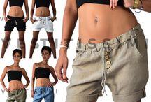 Pantaloncini shorts pantaloni lino donna hot pants sexy elegante estivo mare S8