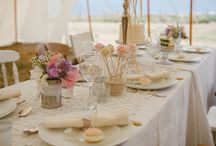 Colonial Vintage / The creamiest of cream, duck egg blue and soft pinks, Dress the tables with delicate fabrics and candelabras and add mismatched chairs and shell accessories.   http://www.bluefizztentsandevents.co.uk/