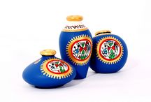 Blue Terracotta Warli Hand painted Miniature Pots : Set Of 3