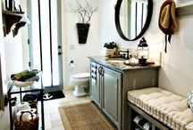 Westchester Masculine Nautical bathroom / Contrast, glass tile, wood accents, nautical style