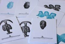 cartes imprimées typo et linogravures / réalisation d'images à partie d'ornements, de caractères bois et de clichés d'imprimerie letterpress typo création visuelle linogravure