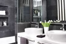 Bathroom / Dark tile with white contrast or visa versa  - basis sink onto of counter top / square or round - floating  Modern taps