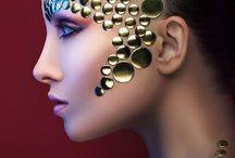Extreme gold makeup face art / #extremegold #extremegoldmakeup