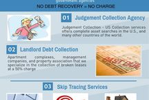 A Debt Collection Agency / A debt collection agency, also known as a debt collector, is a business or other entity that specializes in debt collection such as skip tracing, hidden asset searches and Judgement Recovery Services in the world.