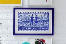 Absorbent Art / Some lovely pictures of ToDryFor.com tea towels framed and hung on the wall...