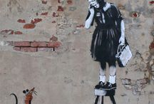 Wall art Banksy. Scampi. friend.