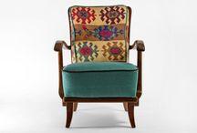 Restored kilim chair from 1950's /  H 82 cm W 60 cm (seat 50cm) D 65 cm (seat 50 cm)