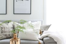 Living room - gold, grey and white