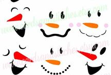 Caritas muñeco nieve y papá Noel