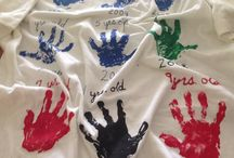 Father's Day T Shirt. ..... / Father's Day T Shirt. ..... Place fabric paint on one hand of a child and place it in order on a white T shirt.  The T shirt will hold approx. 18 single hands.  Label the year and the age of the  child.  Do this every year and after 18 years you will have a hand print of your child for every year of their life given to Dad on Father's Day.