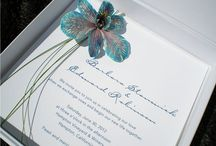 Our Designs - Boxed Invitations / Couture boxed wedding invitations featuring real orchid flowers, sea shells, vintage embellishments and more, designed by Stephanie Reppas.