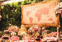 """TRAVEL PARTY - Festa Viagens - Volta ao Mundo / Festa """"Viagem Volta ao Mundo"""" com todo charme do rosa antigo, dourado e muitas flores naturais #travelingparty #festavoltaaomundo #festaviagens #dicasafesta #decoracaopersonalizada"""