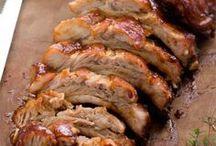 costilla de cerdo al horno con salsa barbacoa