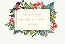 cartes florales typographiques / illustration aquarelle
