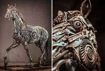 Sculptures of animals made of scrap metal
