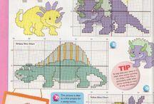 borduurpatroon dinosaurus / draken