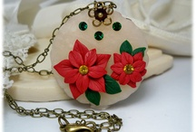 Poinsettia Jewelry / Holiday Winter flowers include red poinsettias and white poinsettias as earrings and hair pins.