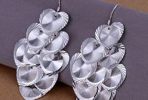 Boucles d'oreilles plaqué argent à pampilles coeur