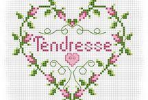 Cross stitch, Hearts