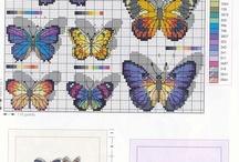 haft krzyżykowy sowy, ptaki, motyle, owady