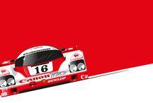 Classic racing cars artwork