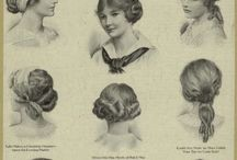"""Ladies' Hair - Fin de Sicle to Edwardian / Beginning with the 1890's """"lunatic fringe"""" styles and moving through the transition from front-facing pompadours to the lower styles of the 'teens.  Characterized by fullness around the face, softness, height, knot on the center back of the head."""