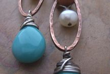 wire wrapped, forged, leather earrings