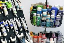 Paint Tubes Storage / DIY or clever idea to storage paints at our studio #atelier #artist