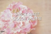 Simple Sweet Color Palette / A tasteful gallery of light pinks, blues, greys, and whites.