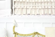 Gold & White Baby Nursery Room Design Ideas / With Caden Lane's gold crib bedding you can create a one of a kind nursery. We are simply obsessed with Gold. To keep your little one's baby room elegant; we suggest Gold and White.