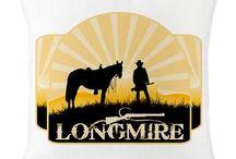 Longmire TV show Designs / Walt Longmire from the western TV shoe Longmire, sunrise, horse and cowboy with Longmire logo.  Longmire TV show designs.  I love this show.  http://www.cafepress.com/profile/thetshirtpainter  ---search longmiretv