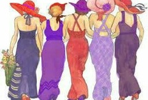 """Jenny Joseph's Red & Purple and their ladies in waiting """"Pinkies"""" in Lavender and Pink Hats / Sister hood of red hatters for ladies over 50.  / by Sallyann Pocklington"""
