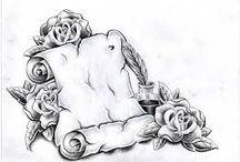 Tetování - růže s pergamenem