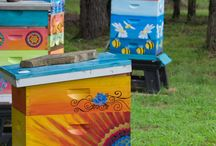 Painted Bee Hives / Bee hive art