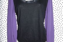 WHISTLES SILK WITH CASHMERE BLACK WITH PURPLE TOP UK 10 12